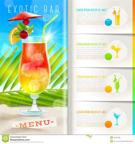 Word Vorlage Cocktailkarte Tropical Bar Menu Stock Vector Image 40747780