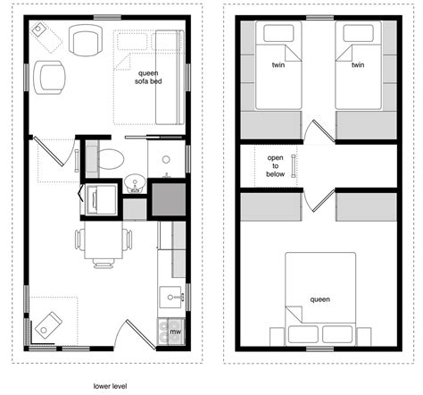 12 215 24 Twostory 3 2 Bedroom Tiny House Plans On Wheels