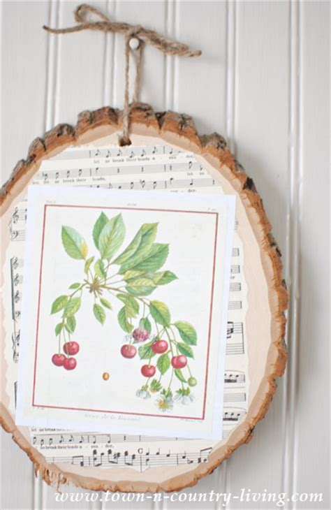 decoupage wood slice art town country living