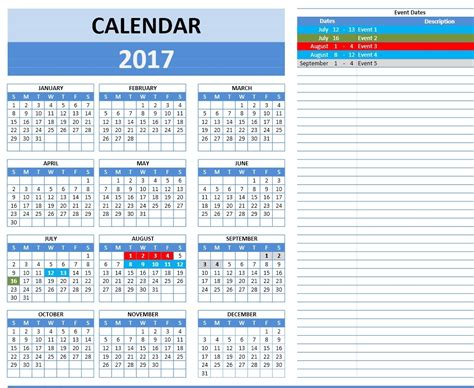 Calendar 2017 Excel Yearly 2017 Calendars Excel Calendars