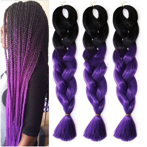 purple ombre braiding hair cheap 100g ombre kanekalon braiding hair extension ombre