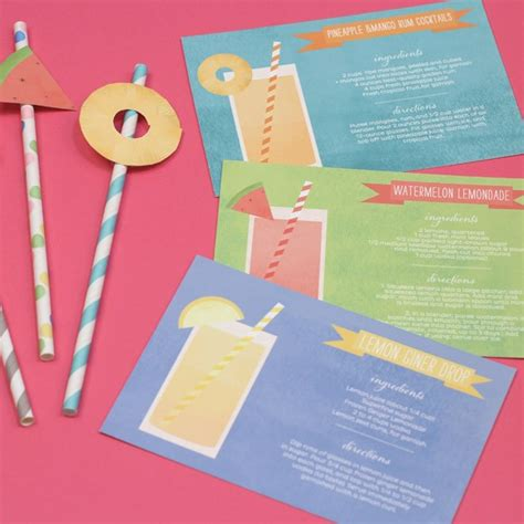cocktail cards template cocktail cards and fruit flags printable by basic invite
