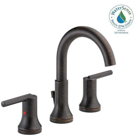 delta venetian bronze bathroom faucet delta trinsic 8 in widespread 2 handle bathroom faucet