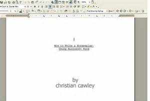 microsoft word screenplay template how to format scripts in word 2010