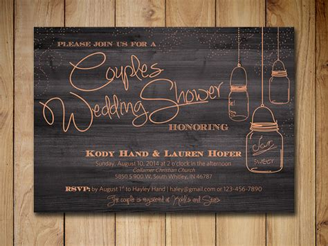 Couples Shower Invitation Mason Jar Wedding Shower Invitation Template Peach Rustic Wedding Couples Wedding Shower Invitations Templates Free