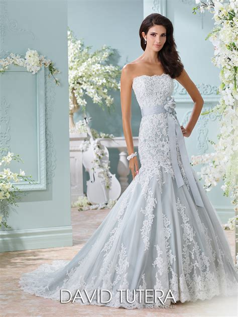 strapless blue wedding dress