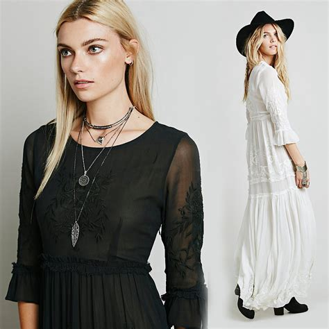 boho dress bohemian maxi dress embroidery black white dress with sleeve