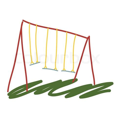 swing cartoon garden swing cartoon illustration stock vector colourbox