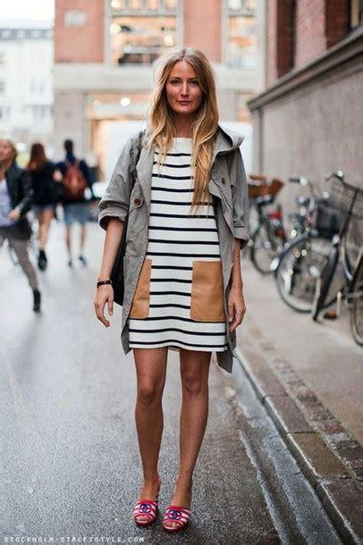 Striped Army Look Dress dress stripes pockets shift dress pocket dress mini
