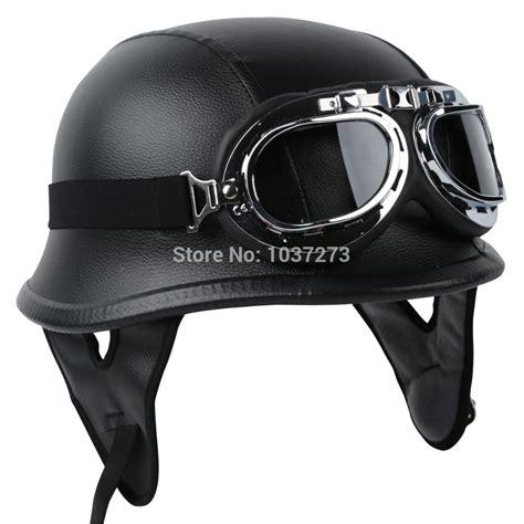leather motorcycle helmet dot german black leather motorcycle half face helmet biker
