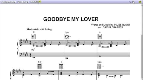 testo lover goodbye my lover by bunt piano sheet teaser