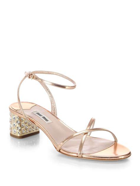 miu miu sandals lyst miu miu metallic leather and swarovski heel