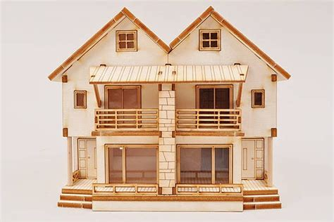 3d home kit by design works 3d duplex wooden house model kit ho scale 1 87 miniature