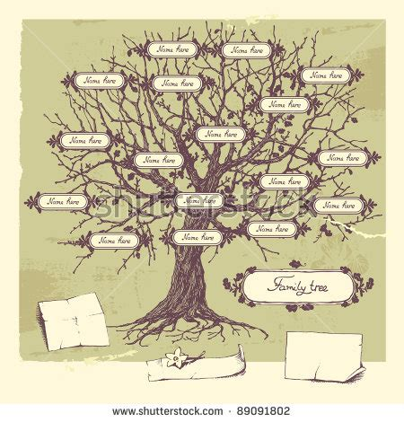 The Gallery For Gt Family Tree Drawing Vintage Genealogical Family Tree Sketch Vector Illustration Stock Vector