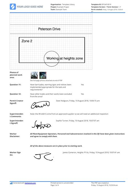 working at height permit to work template working at height permit to work template gallery free