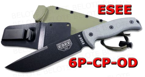 esee plain edge od blade with kydex sheath esee model 6 clip point w od green sheath 6p cp od new ebay