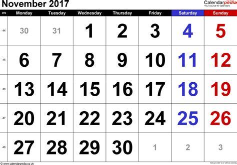 printable calendar numbers for november calendar november 2017 uk bank holidays excel pdf word