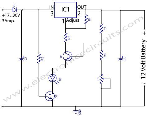 12 volt battery charger circuit diagram 12 volts lead acid battery charger electronic circuits
