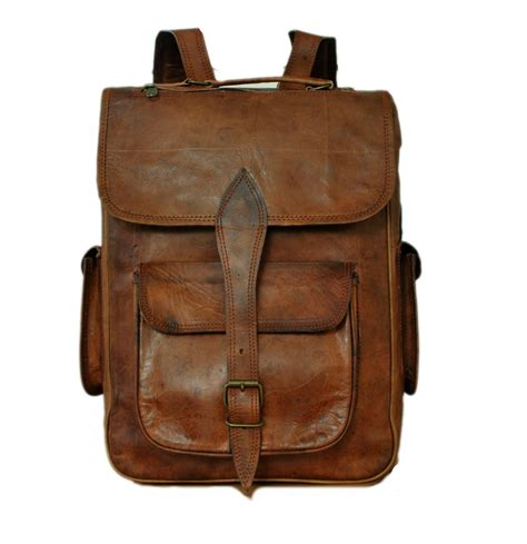 Handmade Luggage - handmade brown leather backpack satchel rucksack college