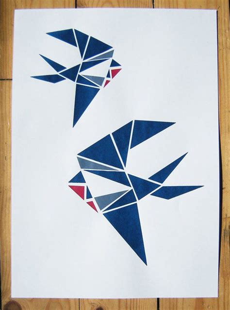 Origami Screen - two swallows origami screen print