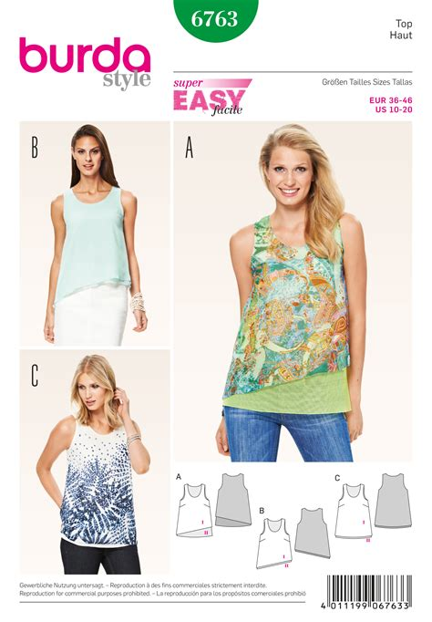 sewing pattern vest top burda 6763 burda style tops shirts blouses