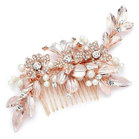 Wedding Hair Accessories Roses by Adelina Gold Pearl Bridal Event Hair Comb