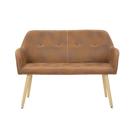 divanetto due posti divanetto due posti in ecopelle e legno stile vintage cm