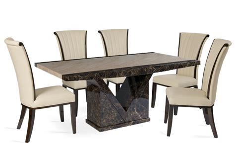 tenore medium marble dining table with 4 alpine leather