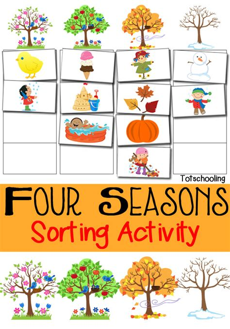 living the seasons of fall and winter books four seasons sorting activity free printable