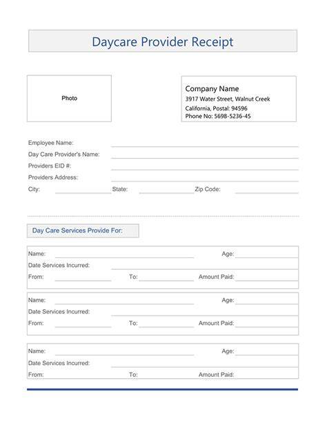 receipt for child care services template free free service receipt