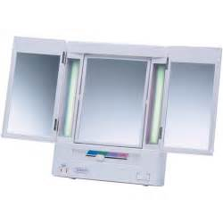 Vanity Mirror With Lighted Folding Jerdon Tabletop Tri Fold 2 Sided Lighted Makeup Mirror