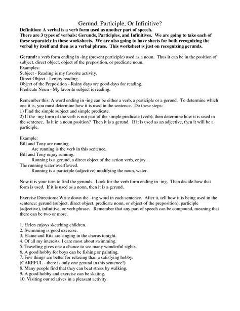 Gerunds And Infinitives Worksheets With Answers by 16 Best Images Of Gerund Phrases Worksheets Gerund And Participle Phrase Worksheet Gerund