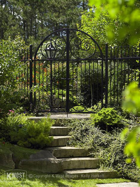 Iron Garden Gates by Wrought Iron Garden Gate Traditional Landscape