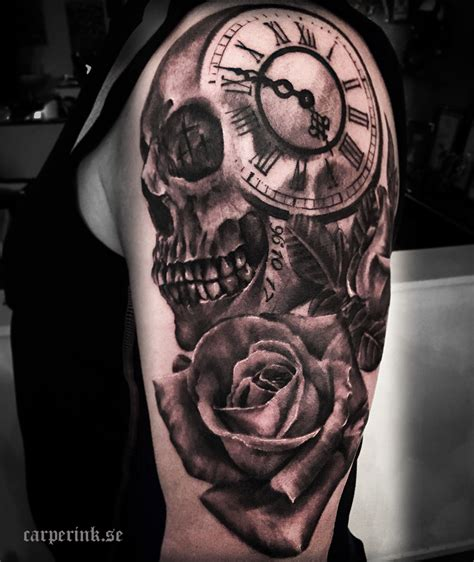 clock and rose tattoos tatueringar carper ink tatuerare malin carper