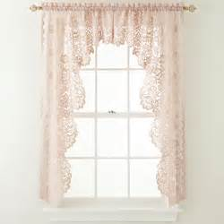 Shari Lace Curtains Jcpenney Jcp Home Shari Lace Rod Pocket Cascade Valance