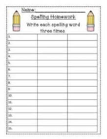 spelling cards template spelling packet templates for 15 words homework center