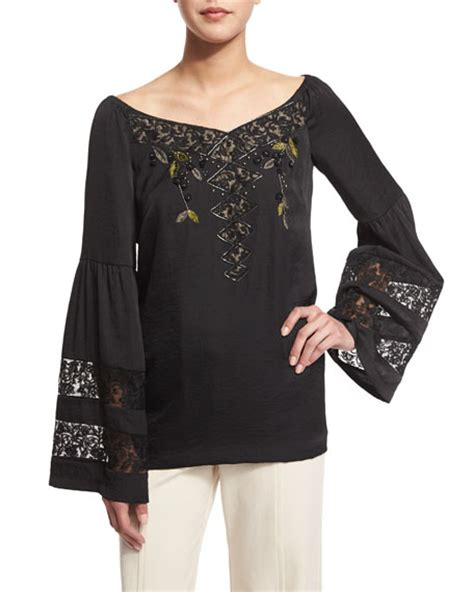 Sleeve Embroidered Blouse nanette lepore sleeve embroidered peasant blouse