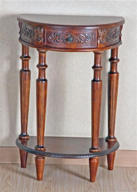 demilune accent table small demilune accent table in stain finish w