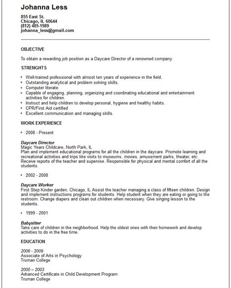 daycare resume sle daycare worker resume resume template