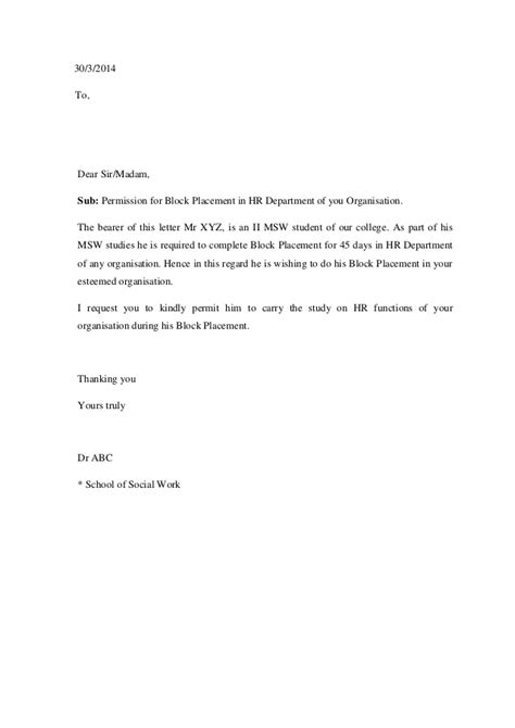 Request Letter For Block Placement Request Letter