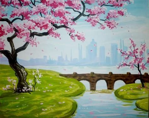 paint nite unos yonkers paint cherry blossoms and lantern on