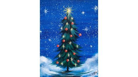 simple christmas tree step  step acrylic painting