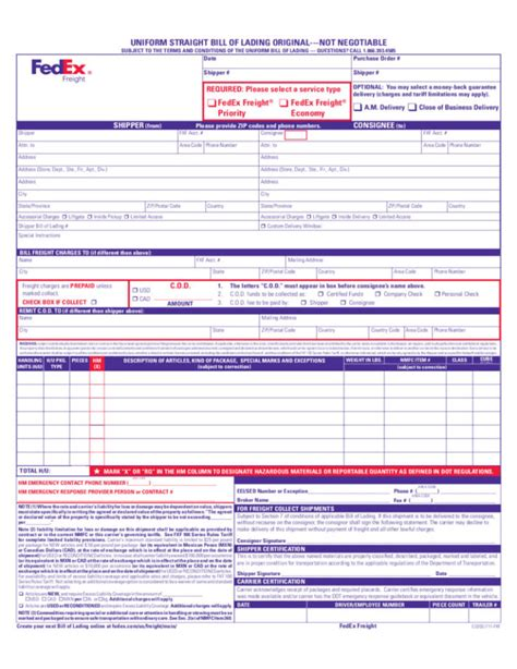 bill of lading template canada images templates design ideas