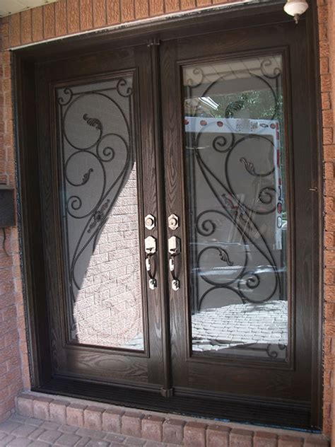 Iron Glass Front Doors Wrought Iron Front Entrance Doors Serafina Design With Frosted Glass And Multi Point Locks
