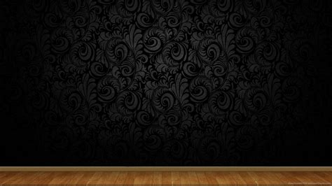 clean black wall  wooden floor background