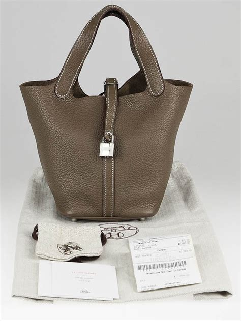 Tas H Picotion Bag In Bag hermes etoupe clemence leather picotin pm bag yoogi s closet
