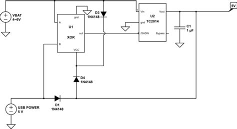 usb device switch  battery  usb power  microcontroller circuit electrical