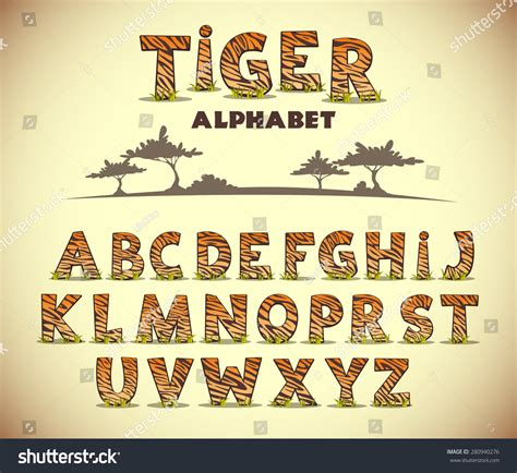 tiger pattern font tiger alphabet vector font with wild pattern 280940276