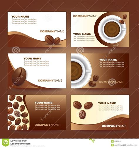 Coffee Business Card Template Vector Set Design Stock Vector Illustration Of Beans Graphic Free Coffee Website Templates