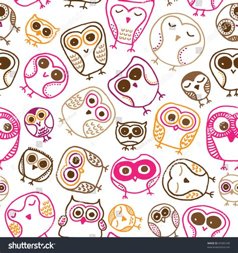 free vector doodle background seamless colorful owl doodle background stock vector
